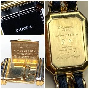 CHANEL Accessories - CHANEL Premiere Gold & Black Leather Chain Watch
